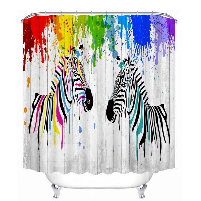 Watercolor Cartoon Zebra 3D Printed Bathroom Waterproof Shower Curtain
