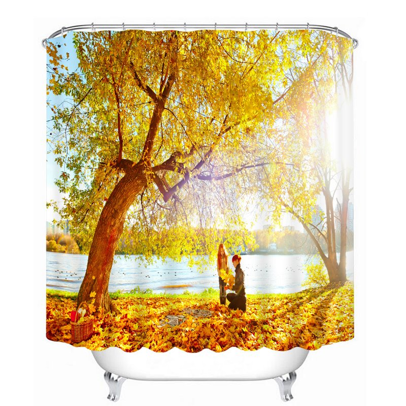 Picnic under the Yellow Tree 3D Printed Bathroom Waterproof Shower Curtain