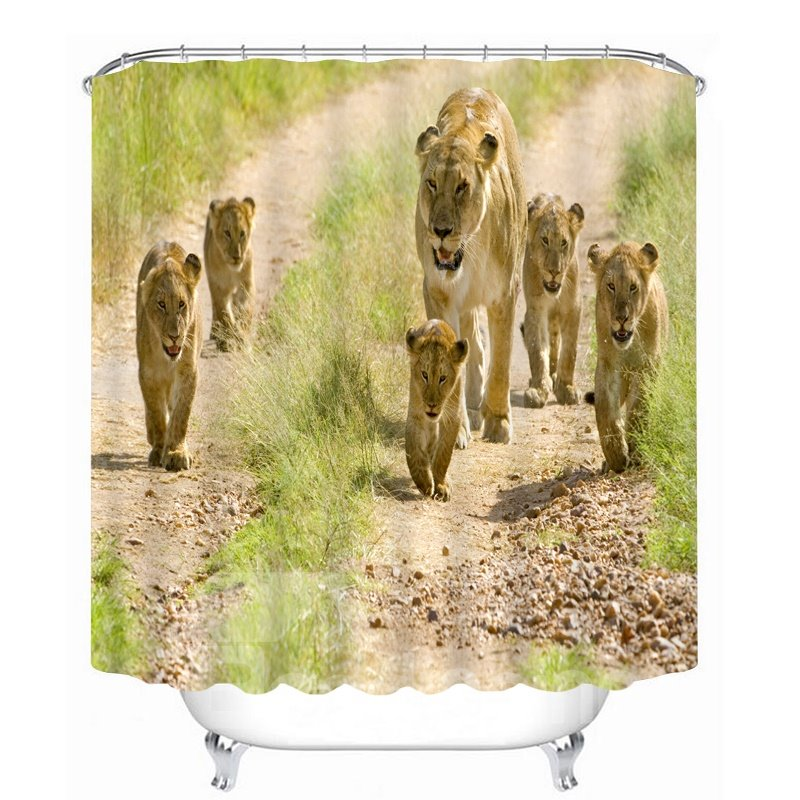 Cute Lion Family Walking 3D Printed Bathroom Waterproof Shower Curtain