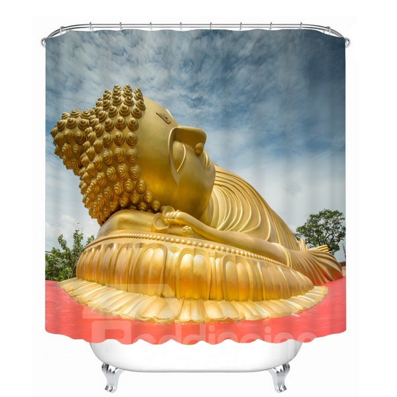 Golden Buddha Statue Lying Down 3D Printed Bathroom Waterproof Shower Curtain