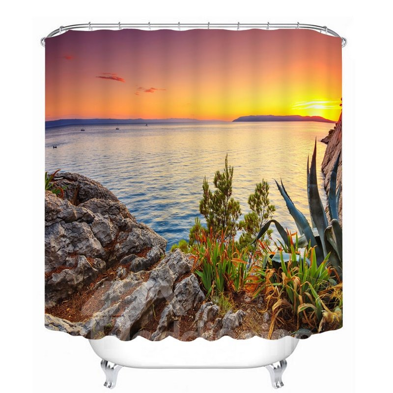 Beautiful Sunrise at the Seaside 3D Printed Bathroom Waterproof Shower Curtain