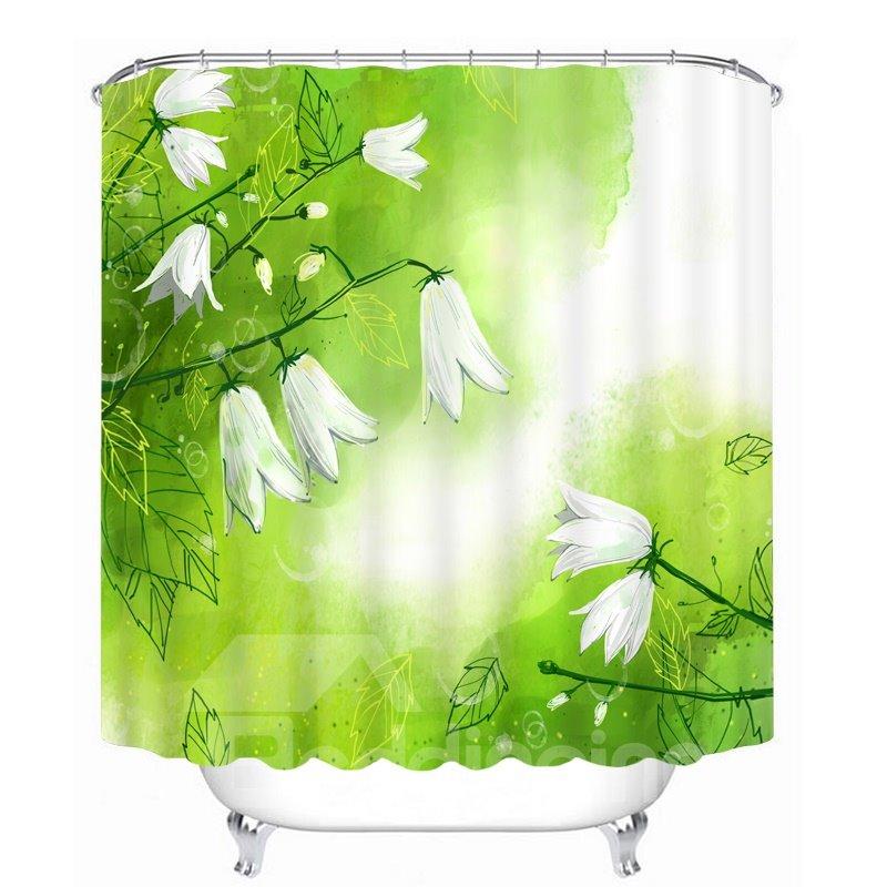 Beautiful White Flower 3D Printed Waterproof Shower Curtain