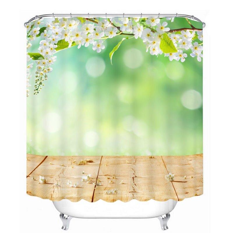 Graceful Spring Scenery 3D Printed Bathroom Waterproof Shower Curtain