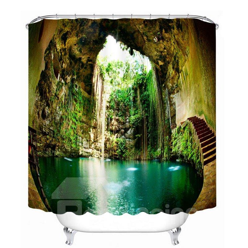 Wonderful Ikil Cenote Scenery 3D Printed Bathroom Waterproof Shower Curtain