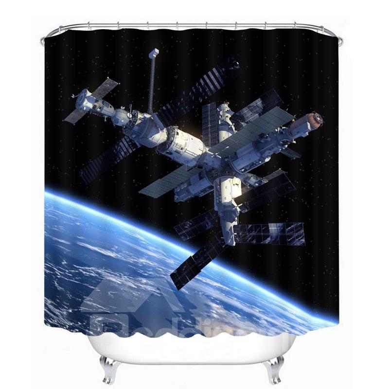 Amazing Space Satellite Station 3D Printed Bathroom Waterproof Shower Curtain