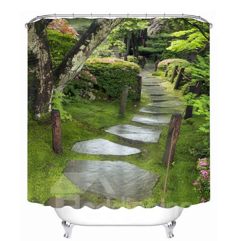 Beautiful Courtyard 3D Printed Bathroom Waterproof Shower Curtain