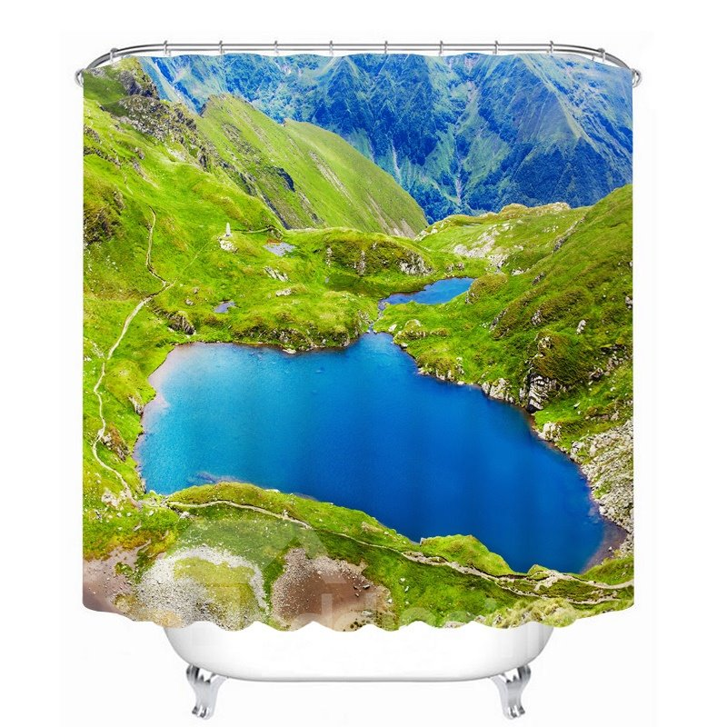 Green Mountain and Blue Lake 3D Printed Bathroom Waterproof Shower Curtain