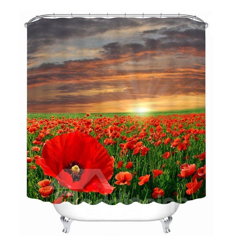 Beautiful Red Flower Sea 3D Printed Bathroom Waterproof Shower Curtain