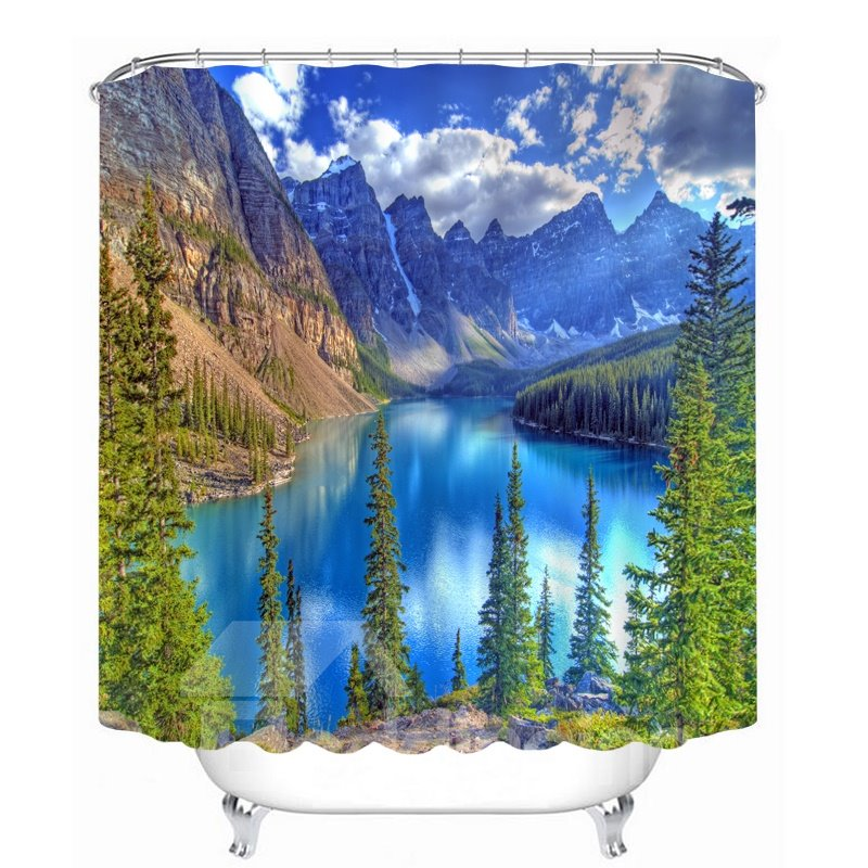 Blue Lake and Mountains in the Sunny Day 3D Printed Bathroom Waterproof Shower Curtain