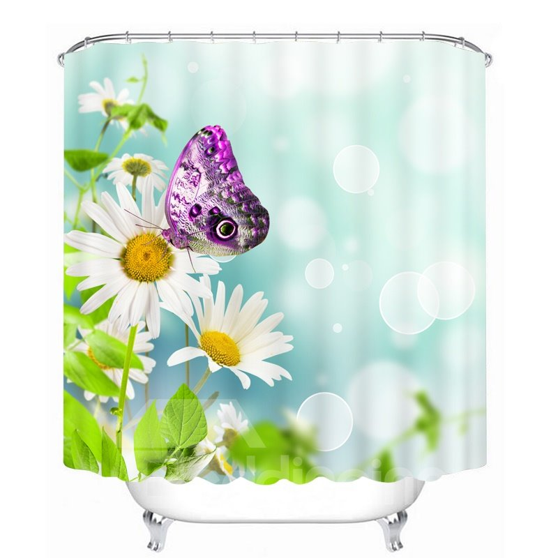 3D Purple Butterfly on White Daisies Printed Polyester Shower Curtain
