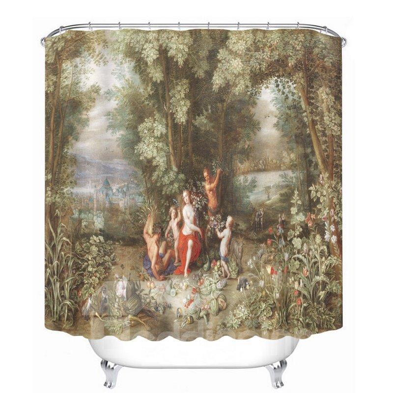 Classic Oil Painting 3D Printed Bathroom Waterproof Shower Curtain