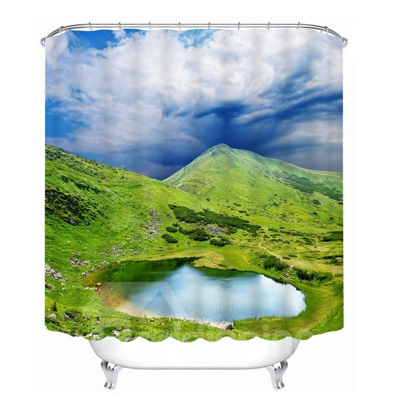 Green Mountain and Lake 3D Printed Bathroom Waterproof Shower Curtain