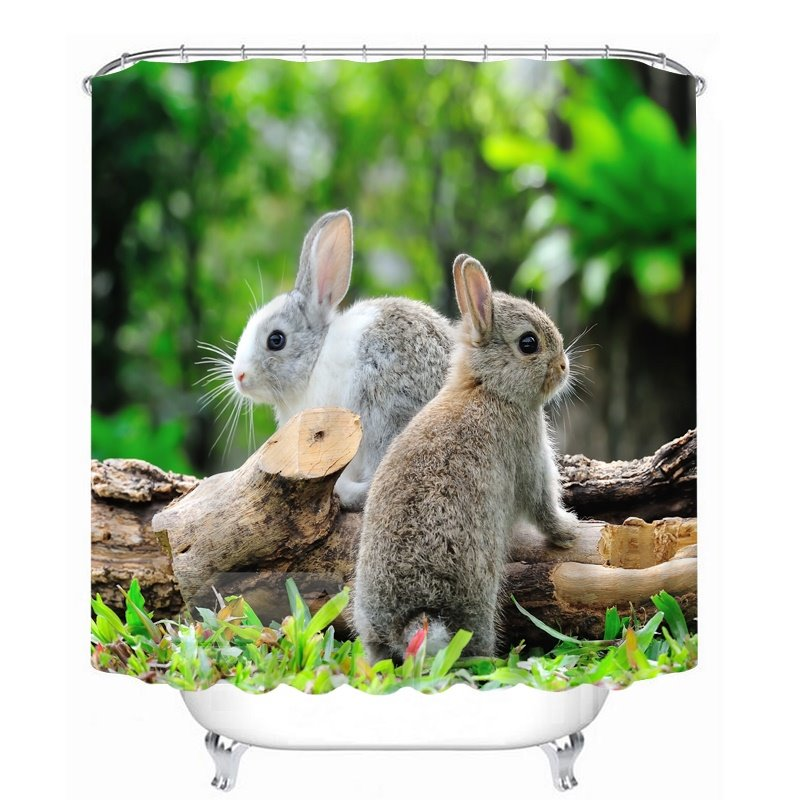 Cute Rabbits Standing on the Wood 3D Printed Bathroom Waterproof Shower Curtain