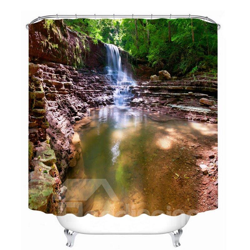 Rustic Waterfalls Scenery 3D Printed Bathroom Waterproof Shower Curtain