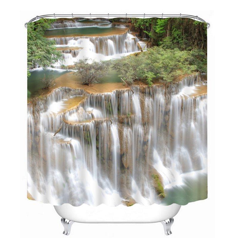 Breathtaking Nature Waterfall 3D Printed Bathroom Waterproof Shower Curtain