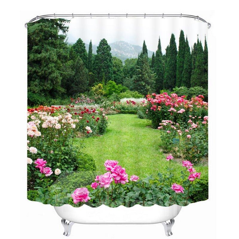 Vibrant Green Garden 3D Printed Bathroom Waterproof Shower Curtain