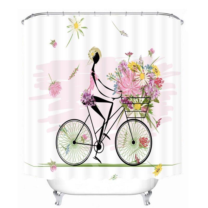 Flower Girl Riding Bike 3D Printed Bathroom Waterproof Shower Curtain
