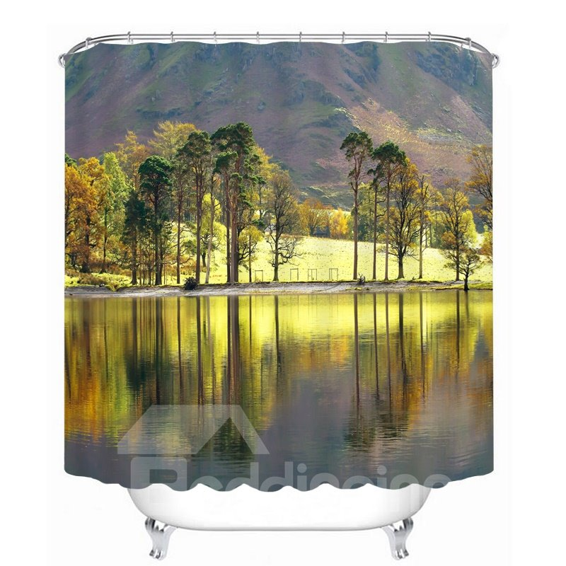 Graceful Lakes and Mountains 3D Printed Bathroom Waterproof Shower Curtain