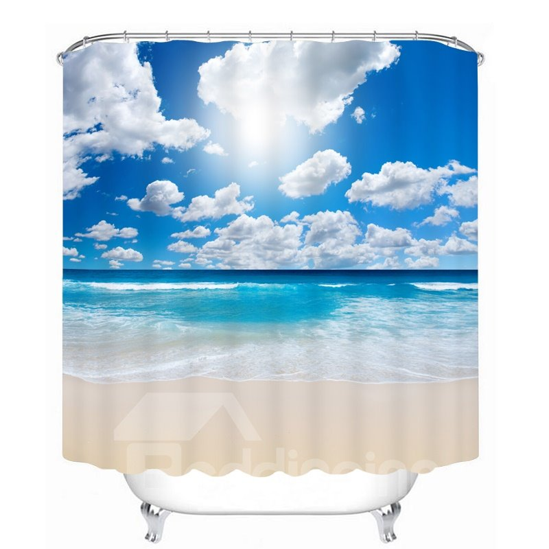 The Wonderful Sunny Day in Beach 3D Printed Bathroom Waterproof Shower Curtain