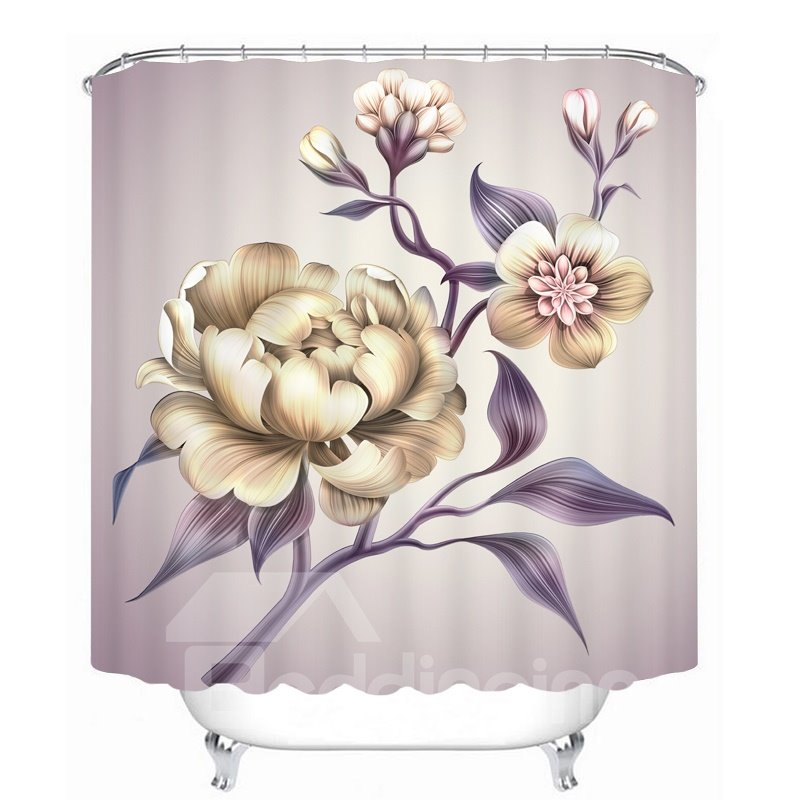 Hand Painted Peony  3D Printed Bathroom Waterproof Shower Curtain