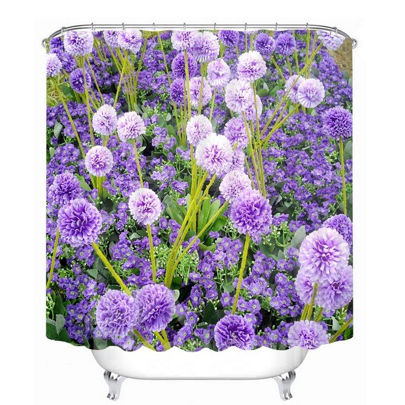 3D Purple Globe Amaranth Flower Printed Polyester Shower Curtain