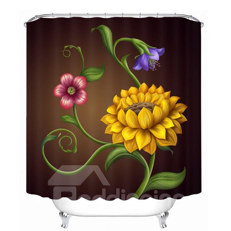 Designer Yellow Flowers 3D Printed Bathroom Waterproof Shower Curtain