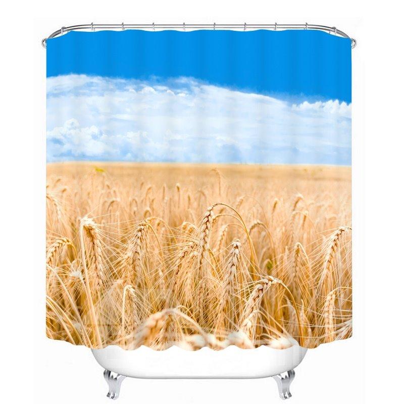 A Good Harvest of Wheat 3D Printed Bathroom Waterproof Shower Curtain