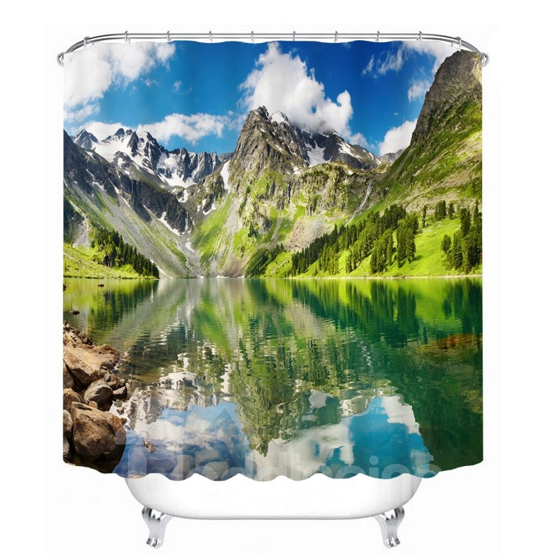 Beautiful Lakes and Mountains 3D Printed Bathroom Waterproof Shower Curtain