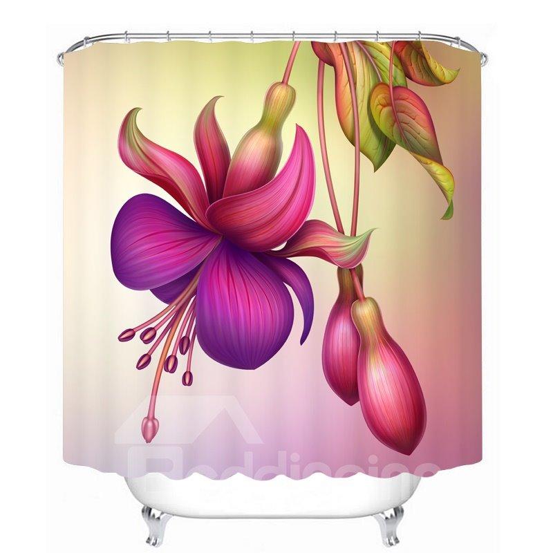 Decoration Colored Flowers 3D Printed Bathroom Waterproof Shower Curtain