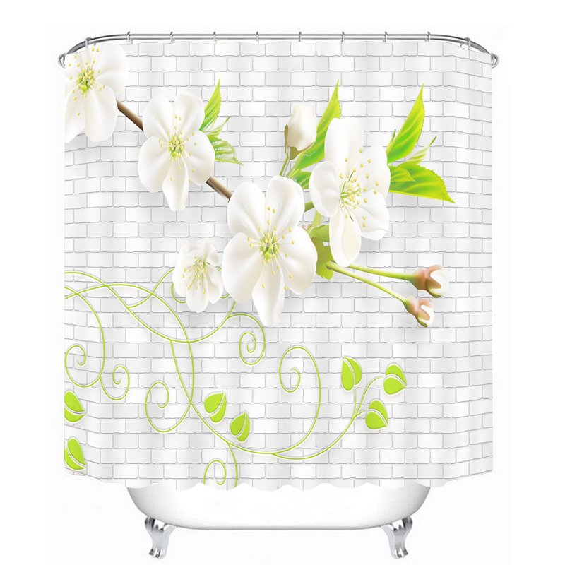 Delicate White Flowers 3D Printed Bathroom Waterproof Shower Curtain