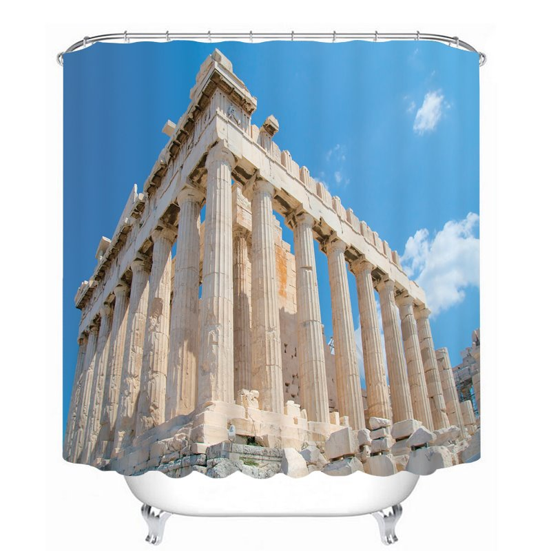 Famous Acropolis in a Sunny Day 3D Printed Bathroom Waterproof Shower Curtain