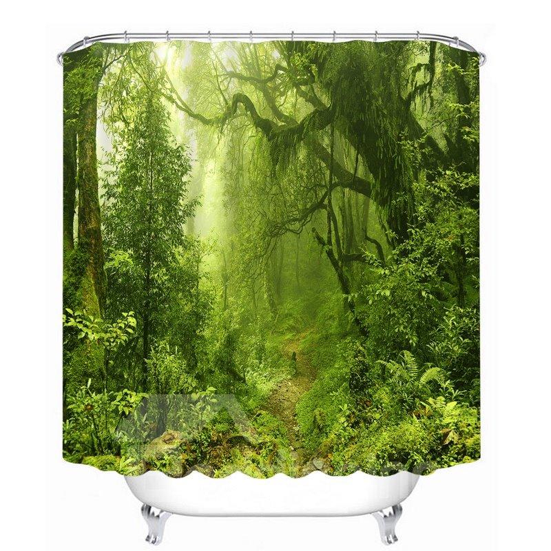 Wild Forest Scenery 3D Printed Bathroom Waterproof Shower Curtain