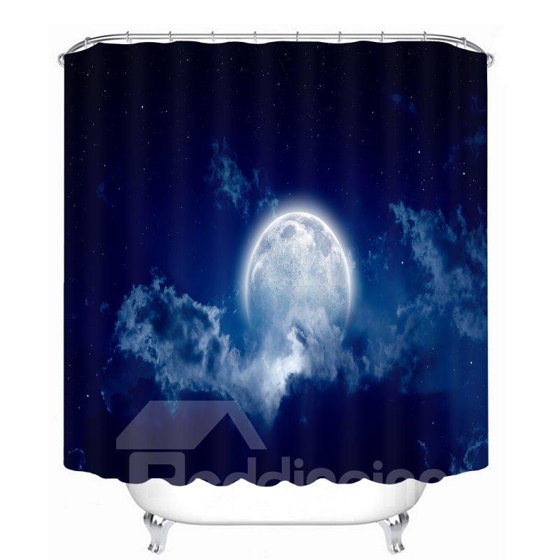 Bright Moon in the Dark Blue Sky 3D Printed Bathroom Waterproof Shower Curtain