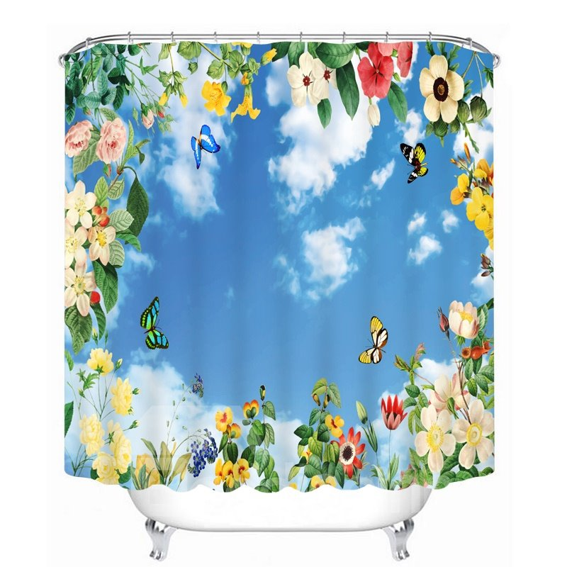 Colored Butterfly and Flower with Blue Sky 3D Printed Bathroom Waterproof Shower Curtain