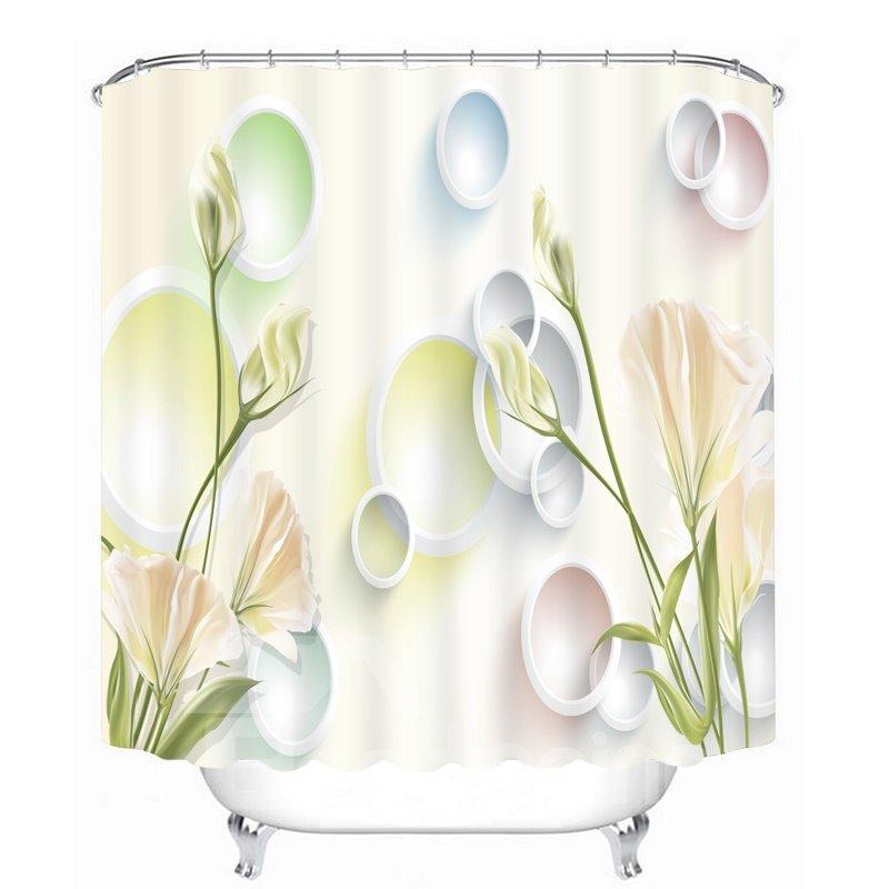 Designer Light Yellow Carnations 3D Printed Bathroom Waterproof Shower Curtain