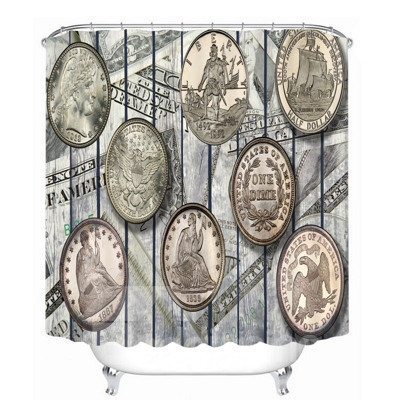 European Coins Designer 3D Printed Bathroom Waterproof Shower Curtain