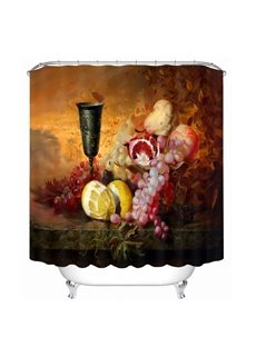 Oil Painting Fruit and Wine 3D Printed Bathroom Waterproof Shower Curtain