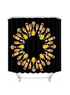 Creative Wine Circle 3D Printed Bathroom Waterproof Shower Curtain