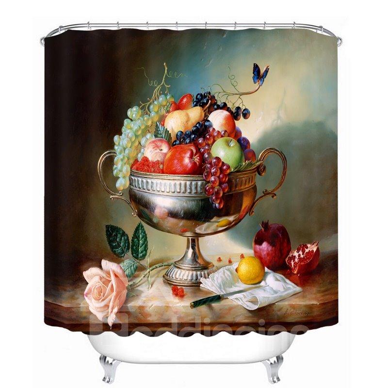 Oil Painting Fruit Dish 3D Printed Bathroom Waterproof Shower Curtain