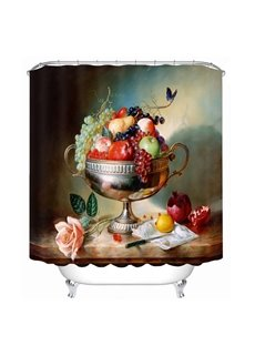 Oil Painting Fruit Dish 3D Printed Bathroom Waterproof Shower Curtain