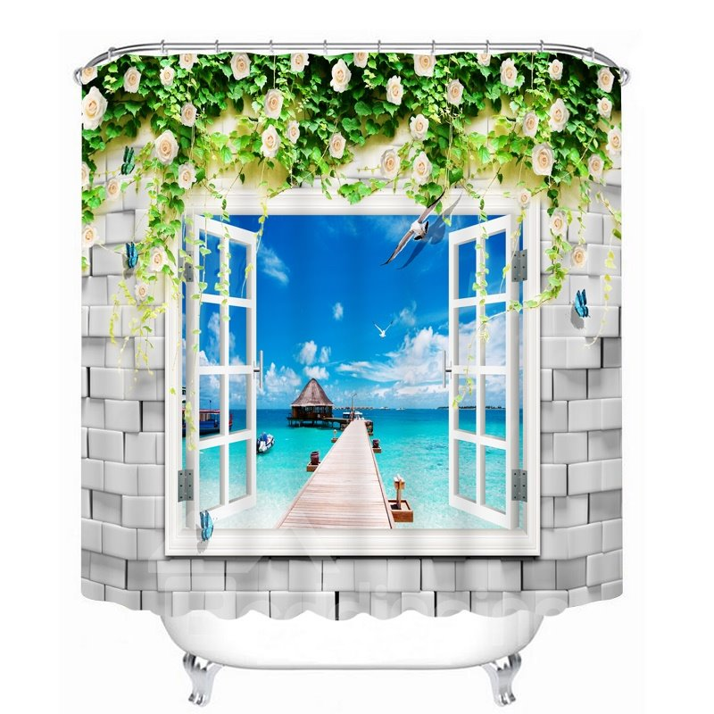 Beautiful Beach Scenery out of the Window 3D Printed Bathroom Waterproof Shower Curtain