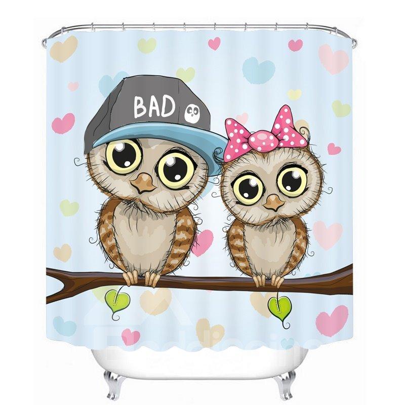 Cute Cartoon Owls Lover 3D Printed Bathroom Waterproof Shower Curtain