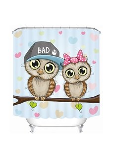 Cute Cartoon Owls Lover 3D Printed Bathroom Waterproof Shower Curtain