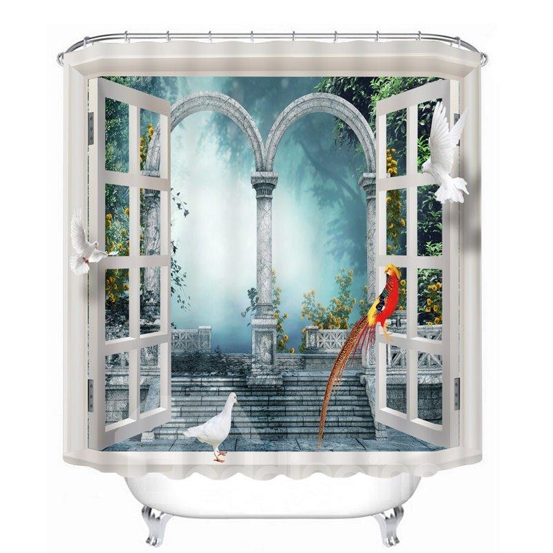 Red Bird Standing on the Window 3D Printed Bathroom Waterproof Shower Curtain
