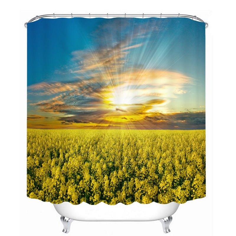 Yellow Flower Field 3D Printed Bathroom Waterproof Shower Curtain