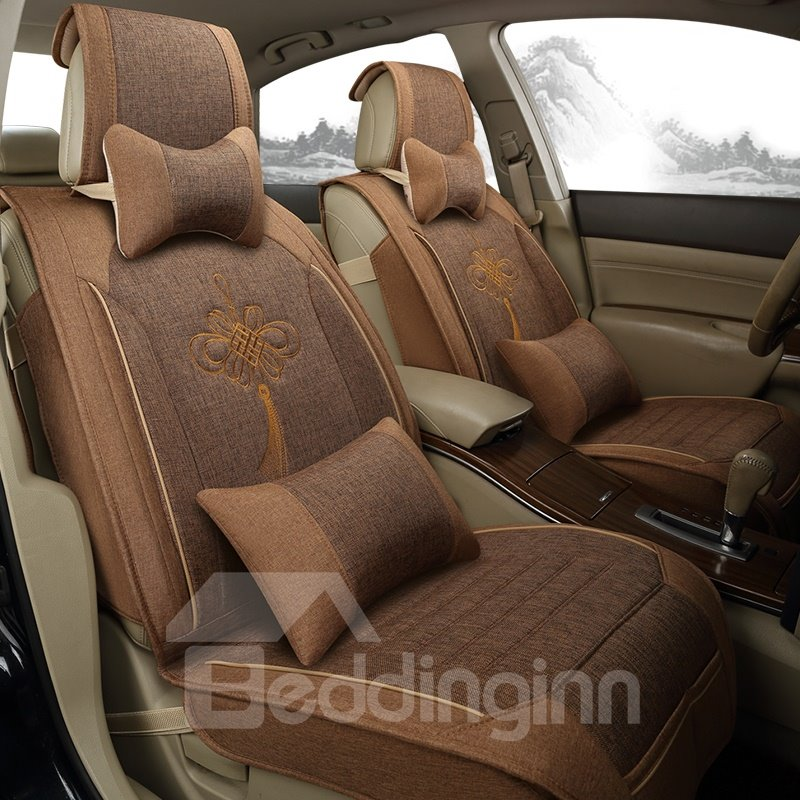 Asian Fortune Pattern Flax And Natural Fibers Universal Car Seat Covers