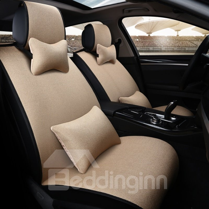 Simple Casual Design Pure Colored Flax Universal Fit Car Seat Covers