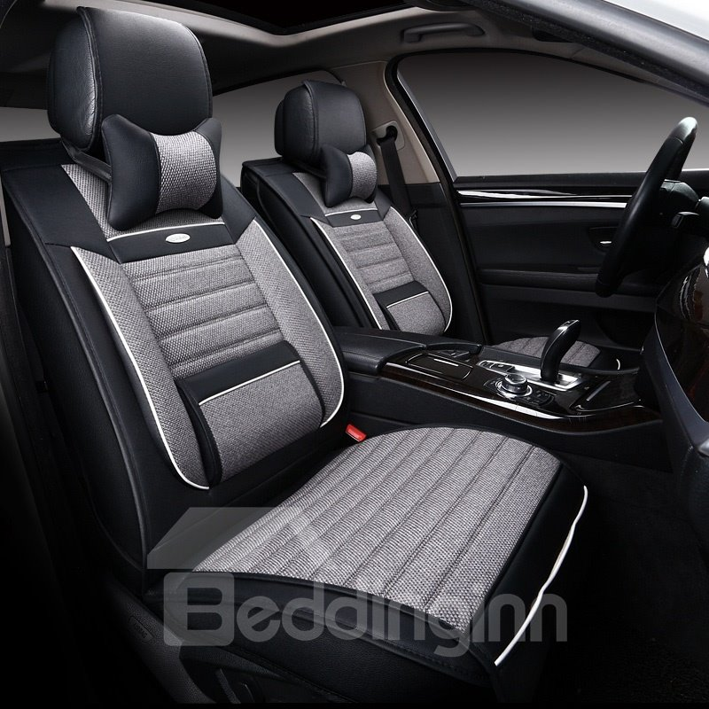 Cozy And Comfortable Casual Design Linen Universal Car Seat Covers