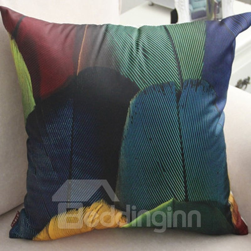 Realistic Style Feathers 3D Printed PP Cotton Throw Pillow