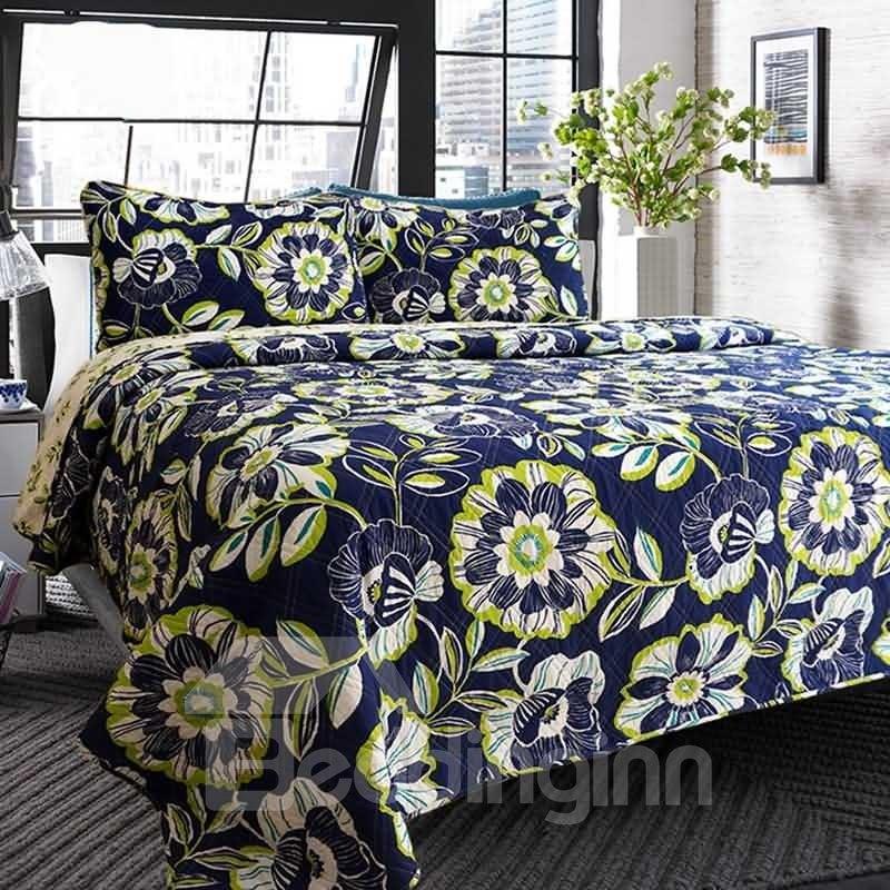 Floral Print Contrast Color 3-Piece Cotton Bed in a Bag